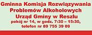 Baner: Gminna Komisja Rozwiązywania Problemów Alkoholowych